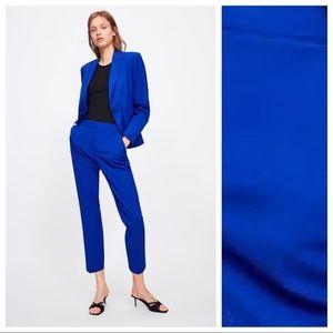 NWOT. Zara Blue Skinny Mid-waist Trousers. Size 6.